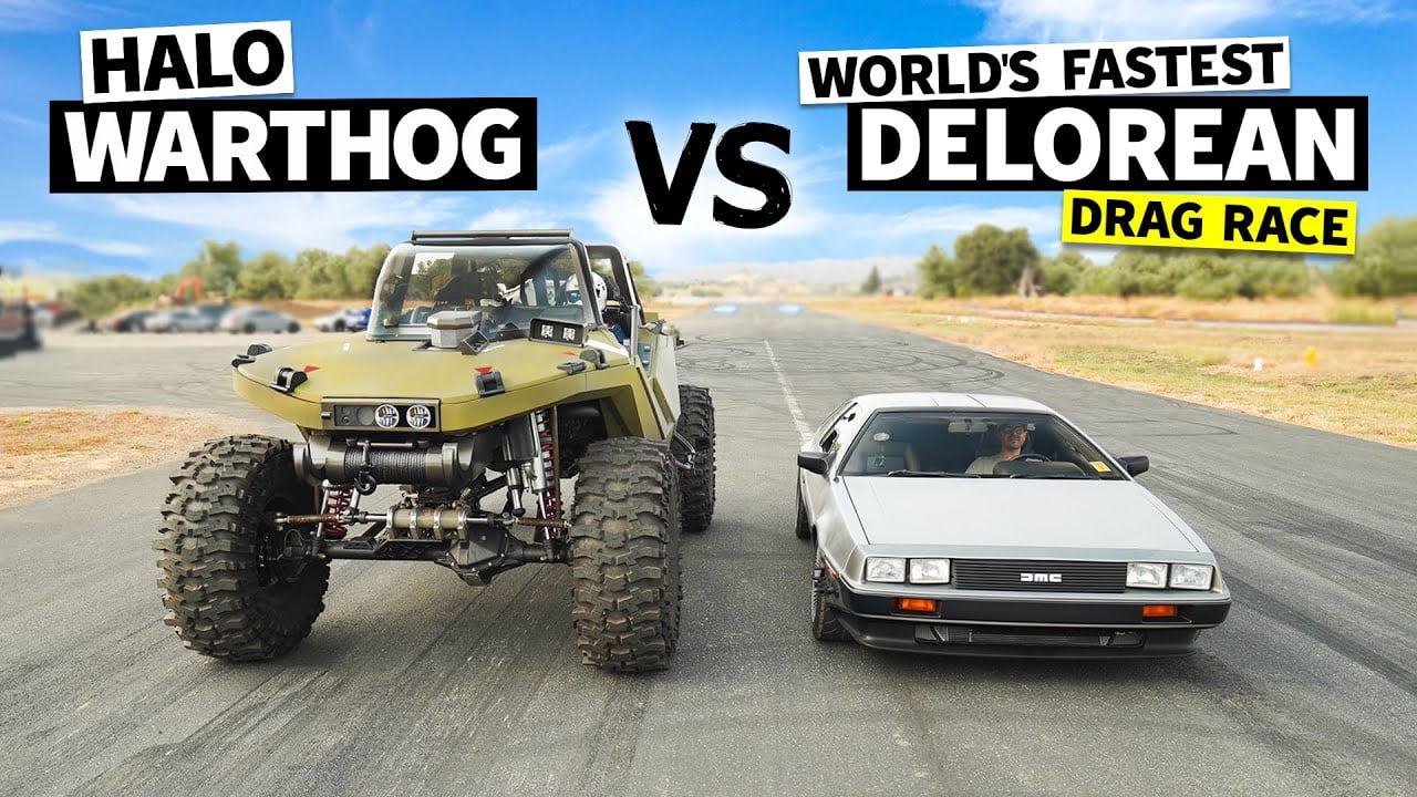Halo Warthog против Twin-Turbo DeLorean - очень странная драг-гонка