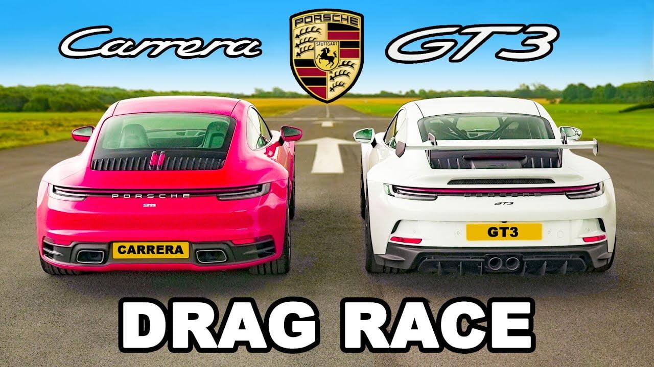 Porsche 911 участвует в драг-рейсинге в битве между Carrera и GT3